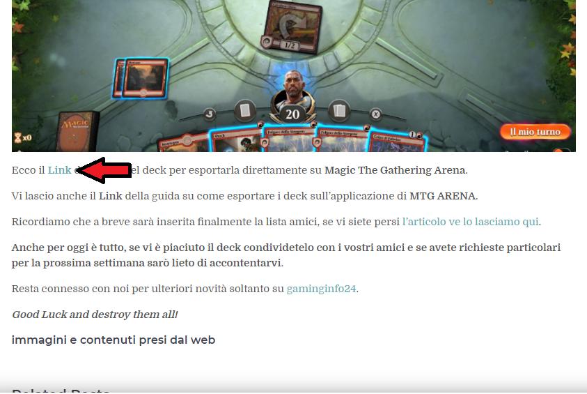 come importare i deck su mtg arena